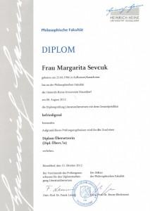Diplomzeugnis der Übersetzerin aus dem Englischen und Russischen